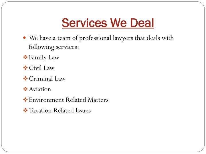 Services We Deal