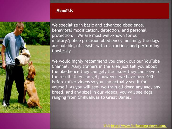 We specialize in basic and advanced obedience, behavioral modification, detection, and personal prot...