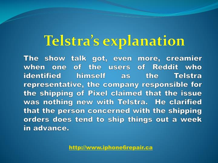 Telstra's explanation