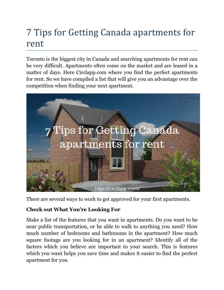 7 Tips for Getting Canada apartments for