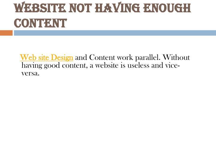 Website not having enough content