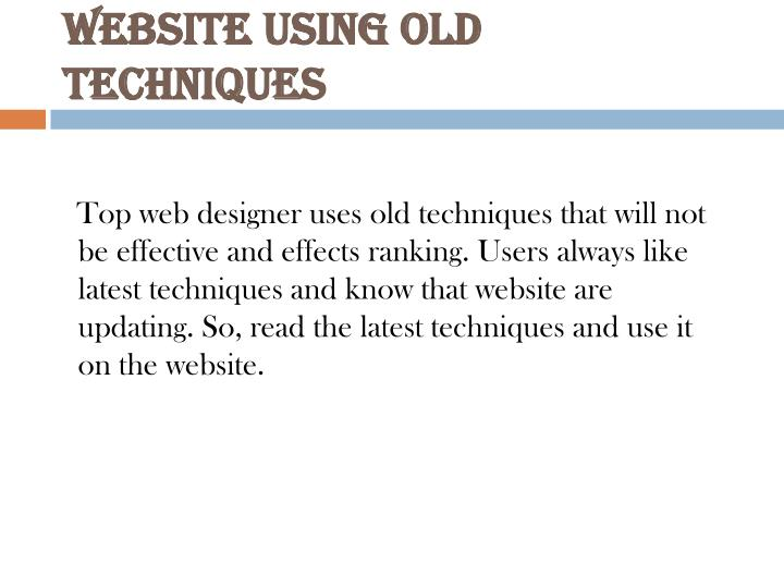 Website Using Old Techniques