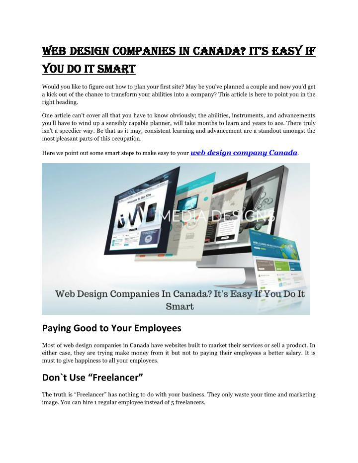 Web Design Companies In Canada? It's Easy If