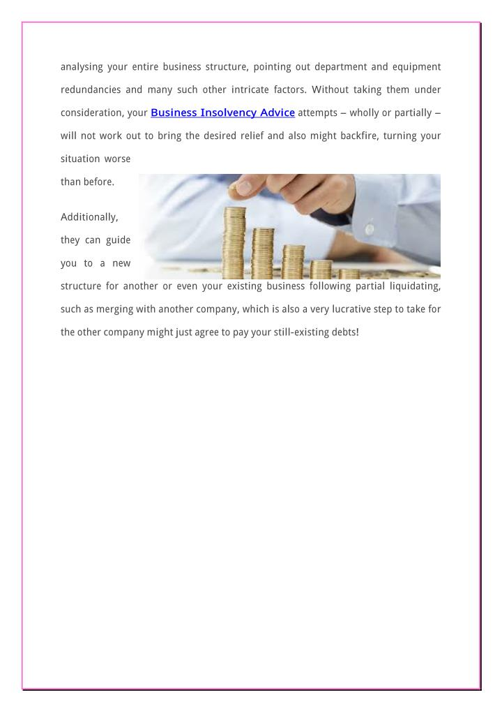analysing your entire business structure, pointing out department and equipment
