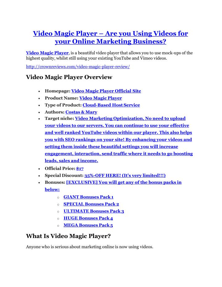 Video Magic Player – Are you Using Videos for