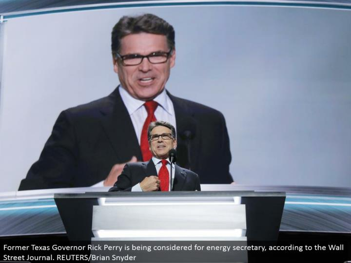 Former Texas Governor Rick Perry is being considered for vitality secretary, as indicated by the Wall Street Journal. REUTERS/Brian Snyder