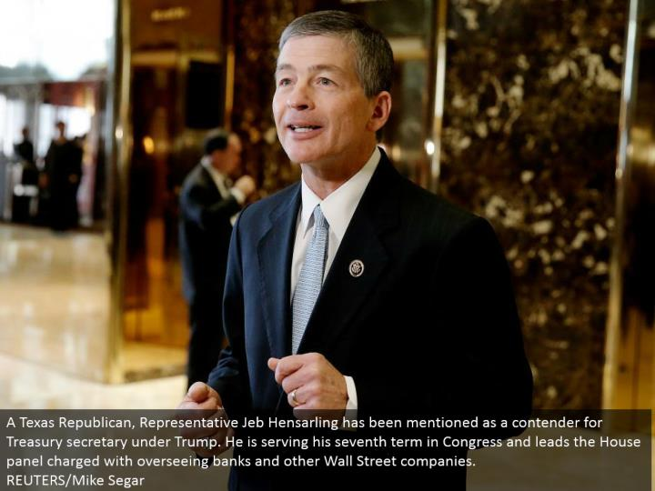 A Texas Republican, Representative Jeb Hensarling has been said as a contender for Treasury secretary under Trump. He is serving his seventh term in Congress and leads the House board accused of directing banks and other Wall Street organizations. REUTERS/Mike Segar