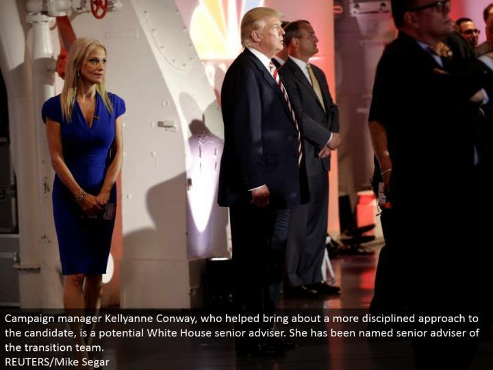 Campaign director Kellyanne Conway, who achieved a more taught way to deal with the applicant, is a potential White House senior counsel. She has been named senior guide of the move group. REUTERS/Mike Segar