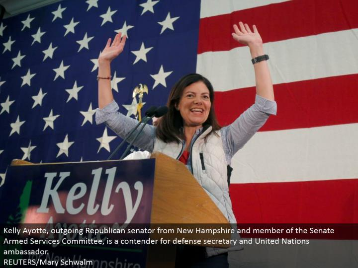 Kelly Ayotte, active Republican representative from New Hampshire and individual from the Senate Armed Services Committee, is a contender for barrier secretary and United Nations represetative. REUTERS/Mary Schwalm