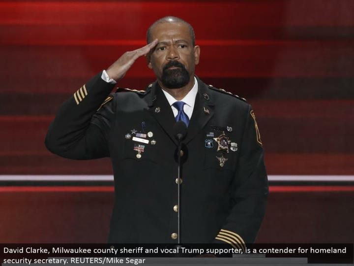 David Clarke, Milwaukee province sheriff and vocal Trump supporter, is a contender for country security secretary. REUTERS/Mike Segar