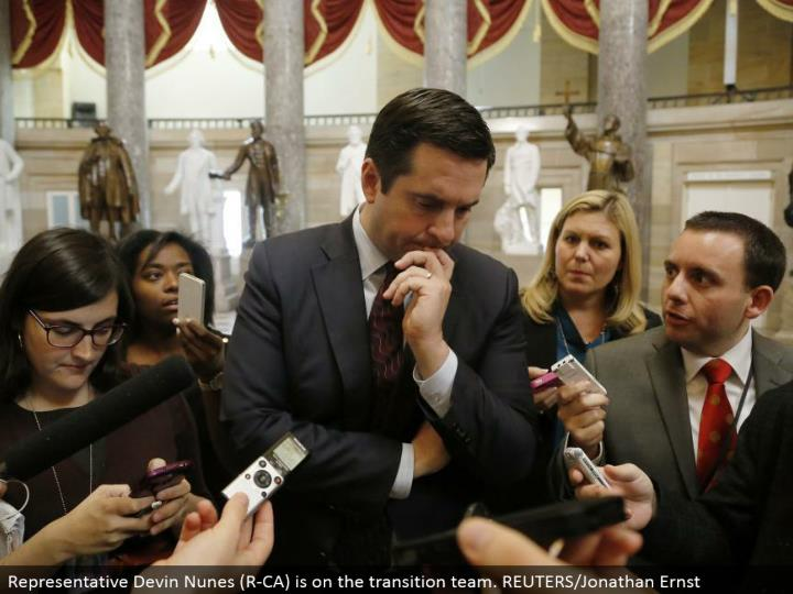 Representative Devin Nunes (R-CA) is on the move group. REUTERS/Jonathan Ernst