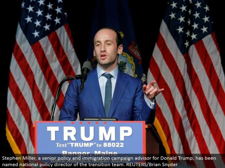 Stephen Miller, a senior strategy and movement crusade guide for Donald Trump, has been named national arrangement executive of the move group. REUTERS/Brian Snyder