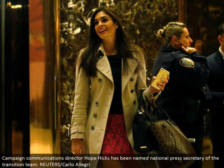 Campaign interchanges executive Hope Hicks has been named national press secretary of the move group. REUTERS/Carlo Allegri