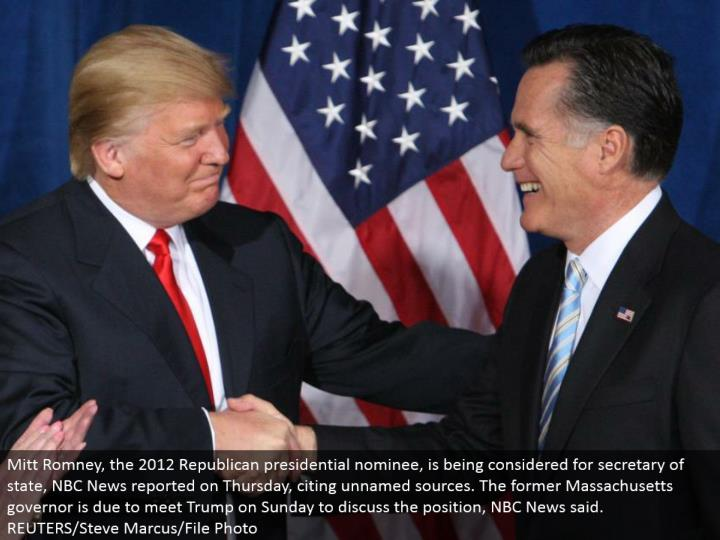 Mitt Romney, the 2012 Republican presidential chosen one, is being considered for secretary of state, NBC News provided details regarding Thursday, refering to anonymous sources. The previous Massachusetts senator is because of meet Trump on Sunday to talk about the position, NBC News said. REUTERS/Steve Marcus/File Photo