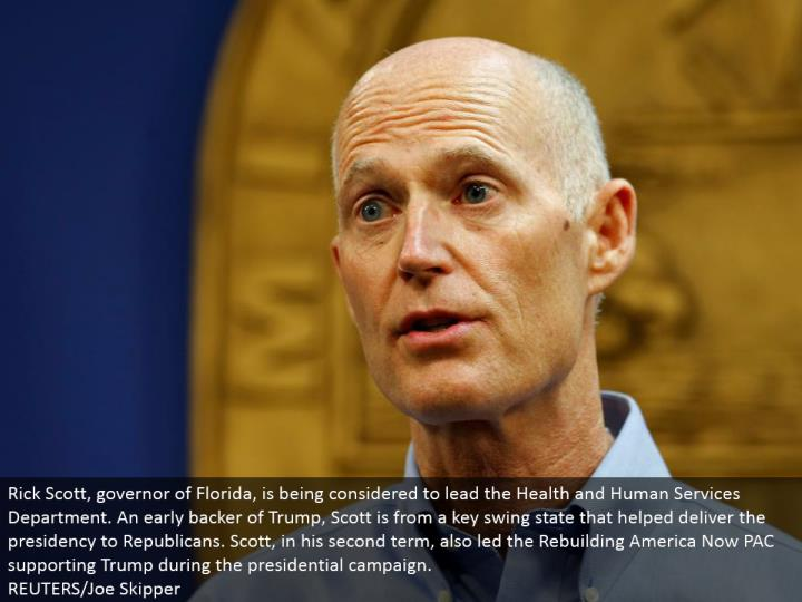 Rick Scott, legislative leader of Florida, is being considered to lead the Health and Human Services Department. An early sponsor of Trump, Scott is from a key swing state that conveyed the administration to Republicans. Scott, in his second term, likewise drove the Rebuilding America Now PAC supporting Trump amid the presidential battle. REUTERS/Joe Skipper