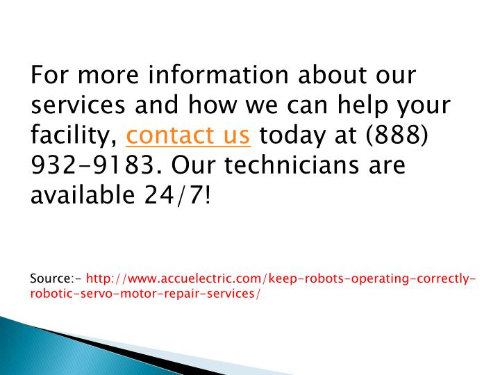 For more information about our services and how we can help your facility,