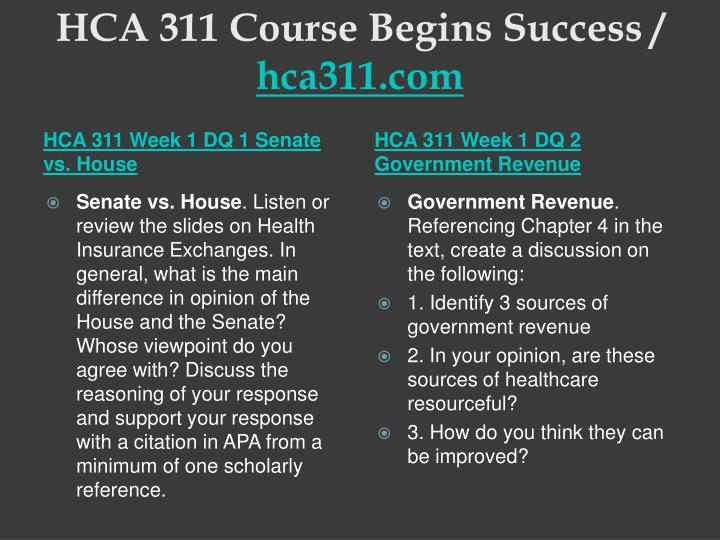 Hca 311 course begins success hca311 com2