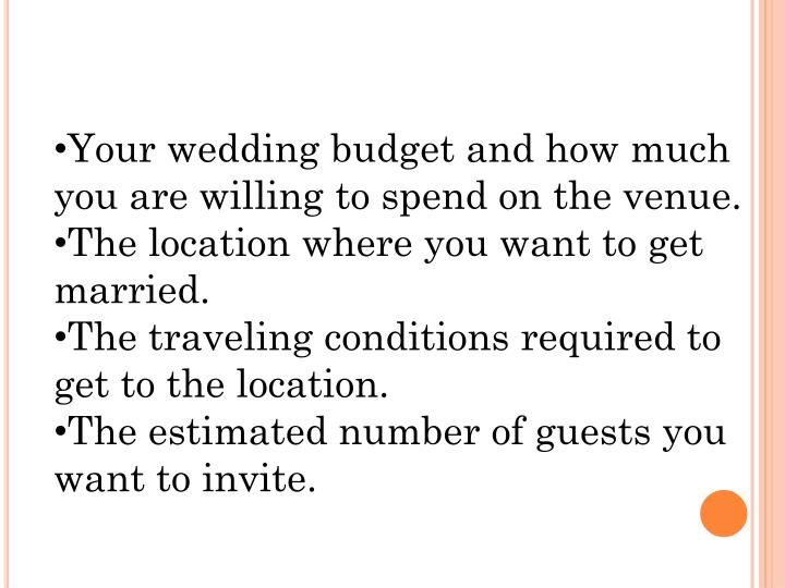 Your wedding budget and how much