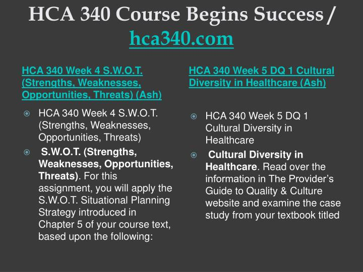 HCA 340 Course Begins Success /