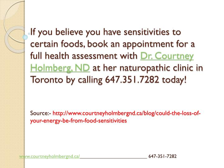 If you believe you have sensitivities to certain foods, book an appointment for a full health assessment with