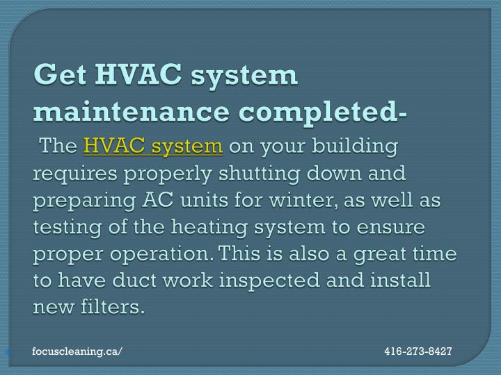 Get HVAC system maintenance