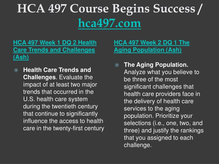 HCA 497 Course Begins Success /