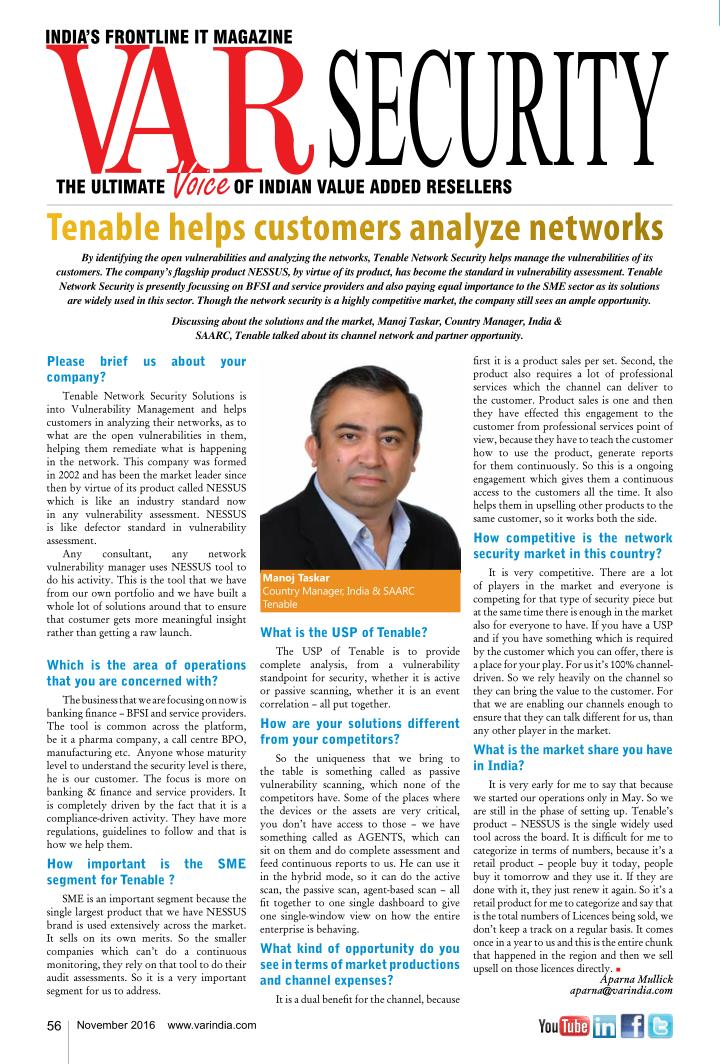Tenable helps customers analyze networks