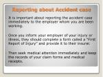 reporting about accident case