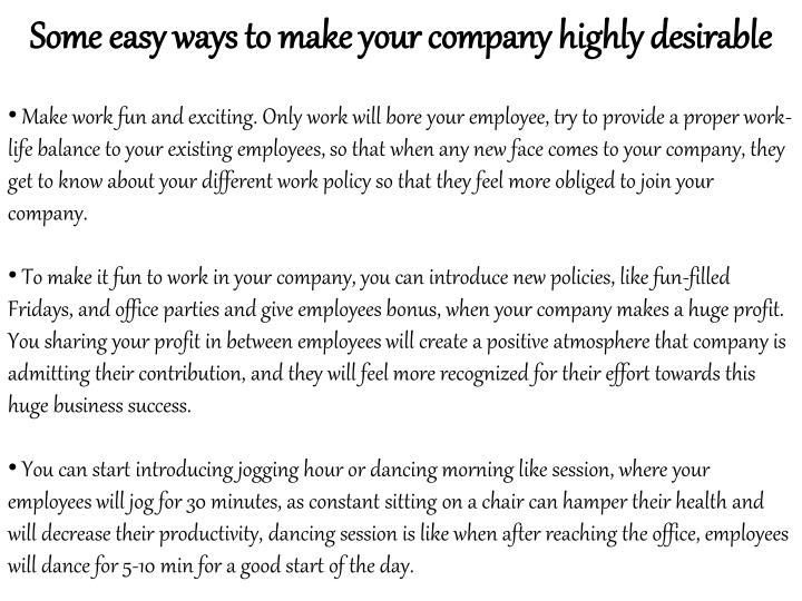 Some easy ways to make your company highly desirable