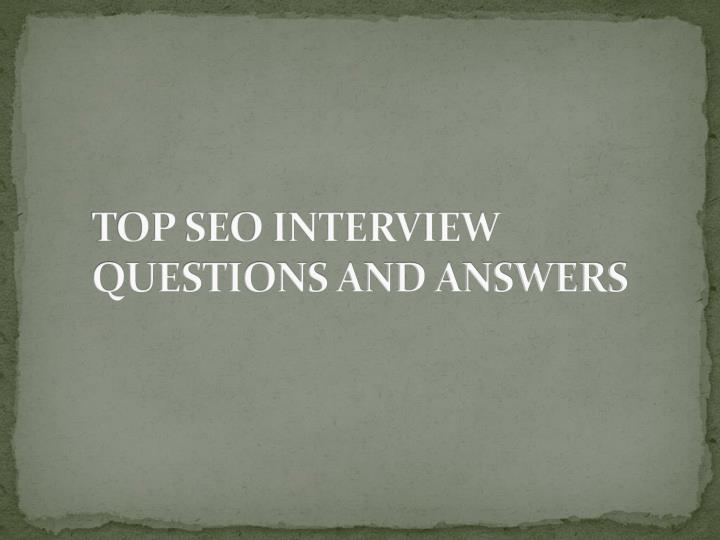 Top seo interview questions and answers