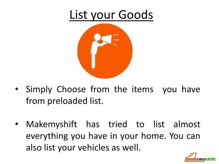 List your Goods
