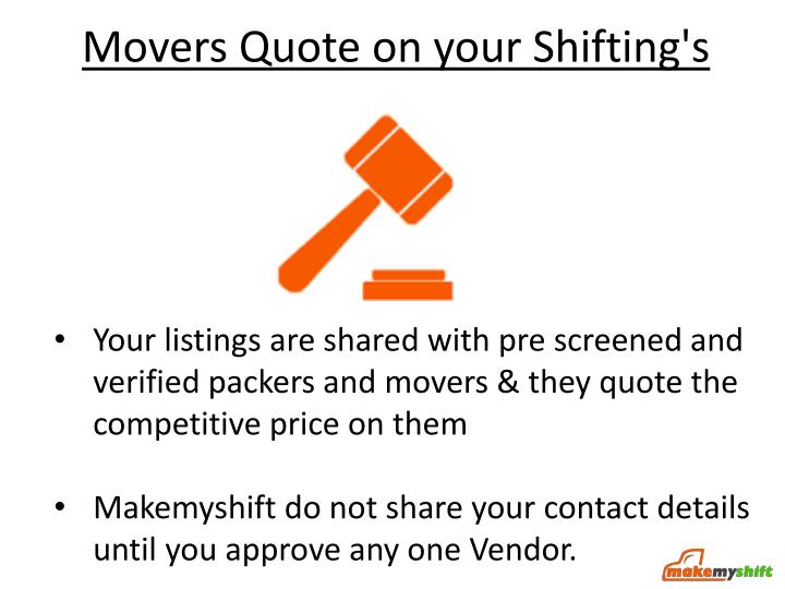 Movers Quote on your Shifting's