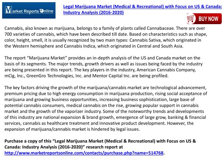 Legal Marijuana Market (Medical & Recreational) with Focus on US & Canada: Industry Analysis (2016-2020)
