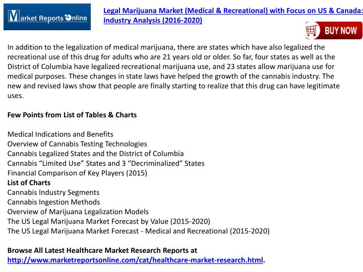 Legal Marijuana Market (Medical & Recreational) with Focus on US & Canada: Industry Analysis (2016-2020)