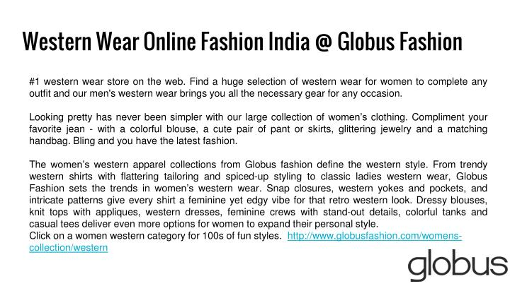 Western Wear Online Fashion India @ Globus Fashion