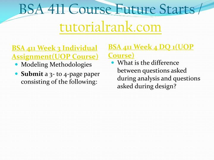 BSA 411 Course Future Starts /