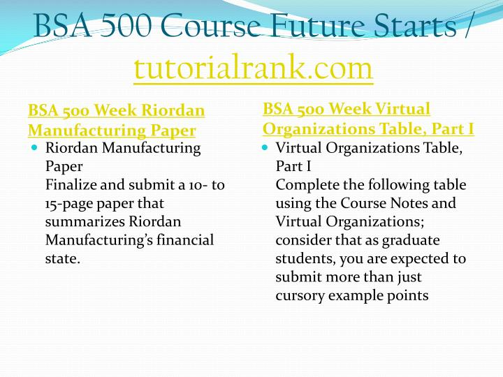 BSA 500 Course Future Starts /