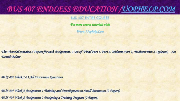 Bus 407 endless education uophelp com1