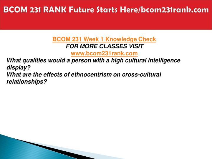 BCOM 231 RANK Future Starts Here/bcom231rank.com
