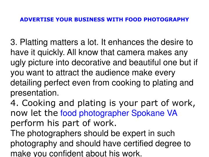 ADVERTISE YOUR BUSINESS WITH FOOD PHOTOGRAPHY