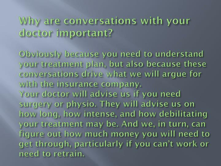 Why are conversations with your doctor important