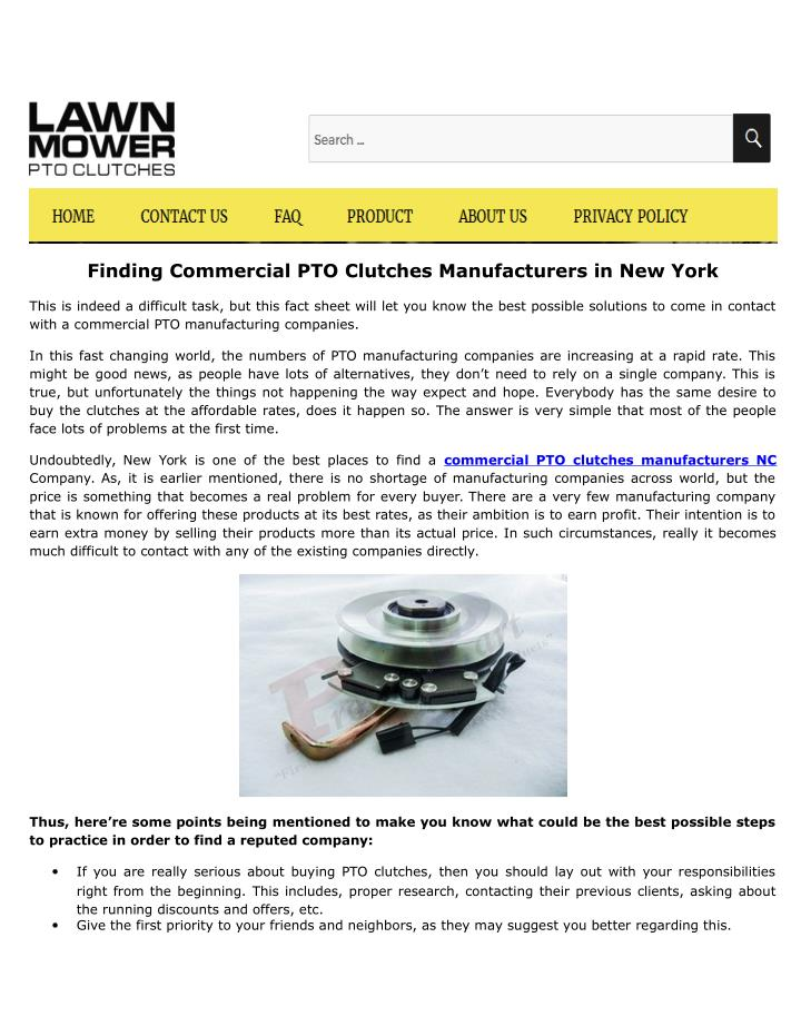 Finding Commercial PTO Clutches Manufacturers in New York