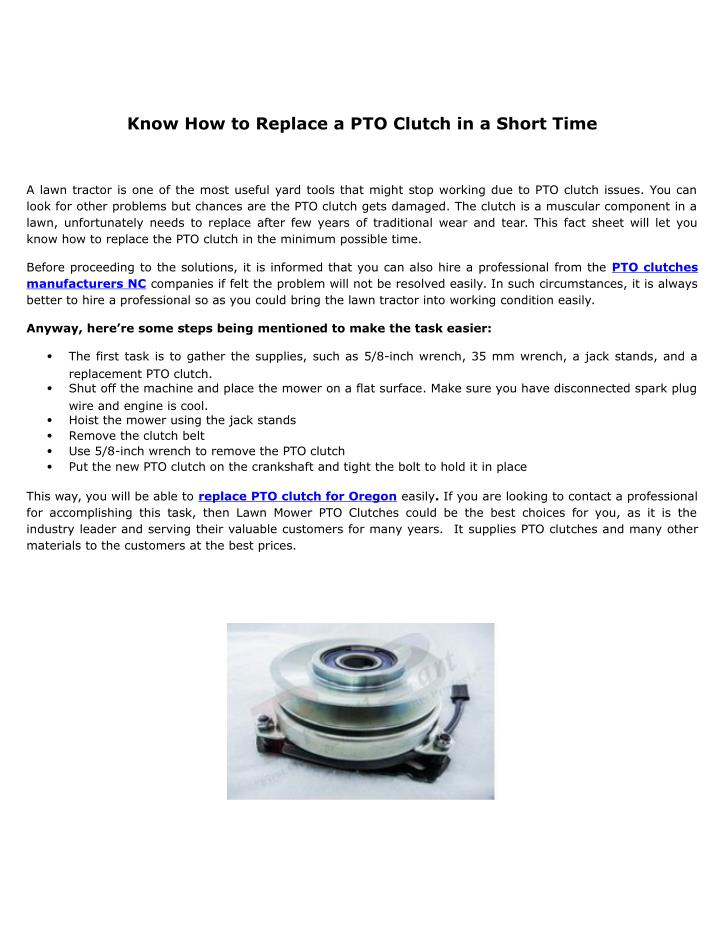 Know How to Replace a PTO Clutch in a Short Time