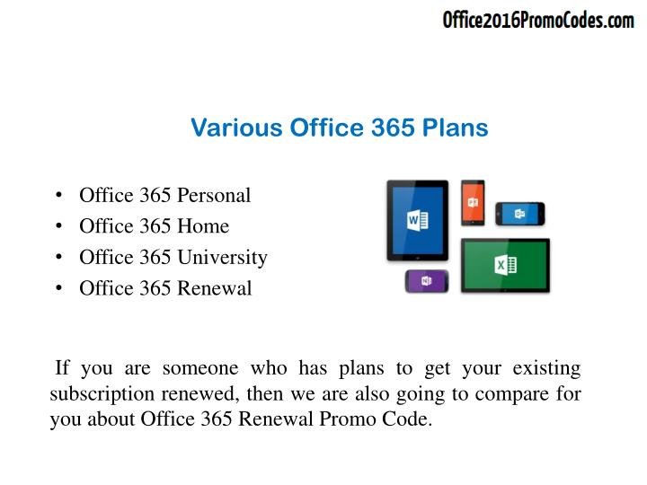 Various office 365 plans