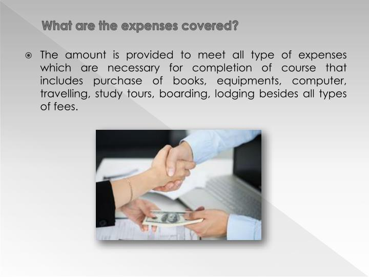 What are the expenses covered?