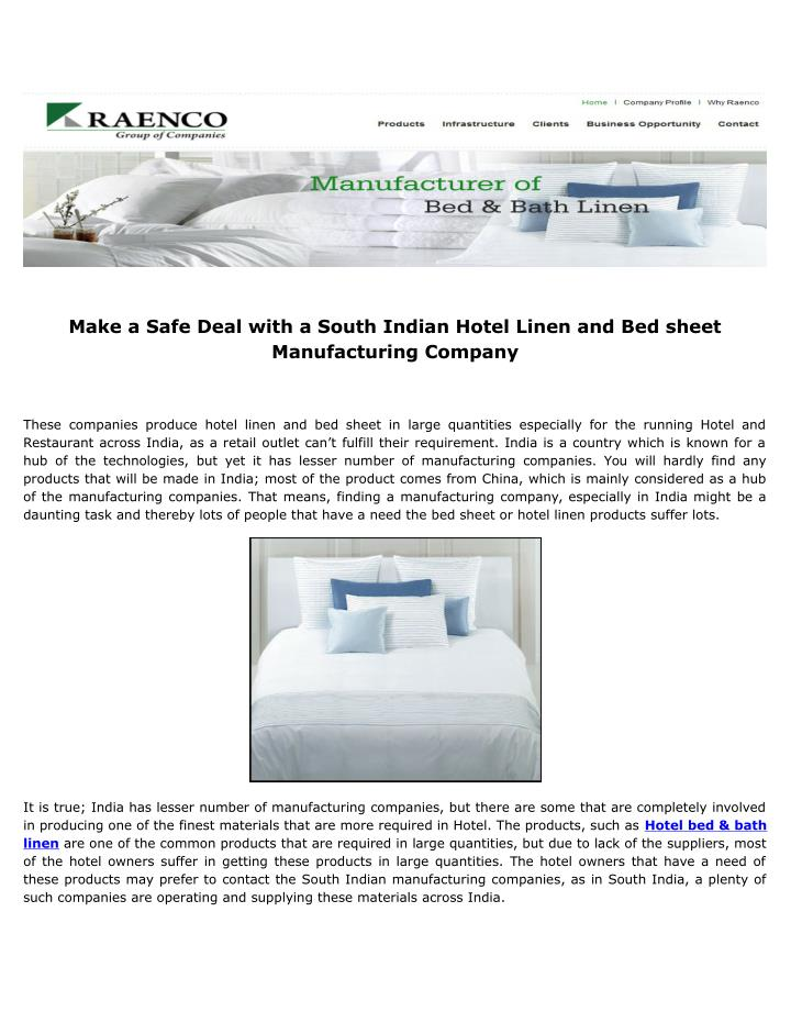 Make a Safe Deal with a South Indian Hotel Linen and Bed sheet