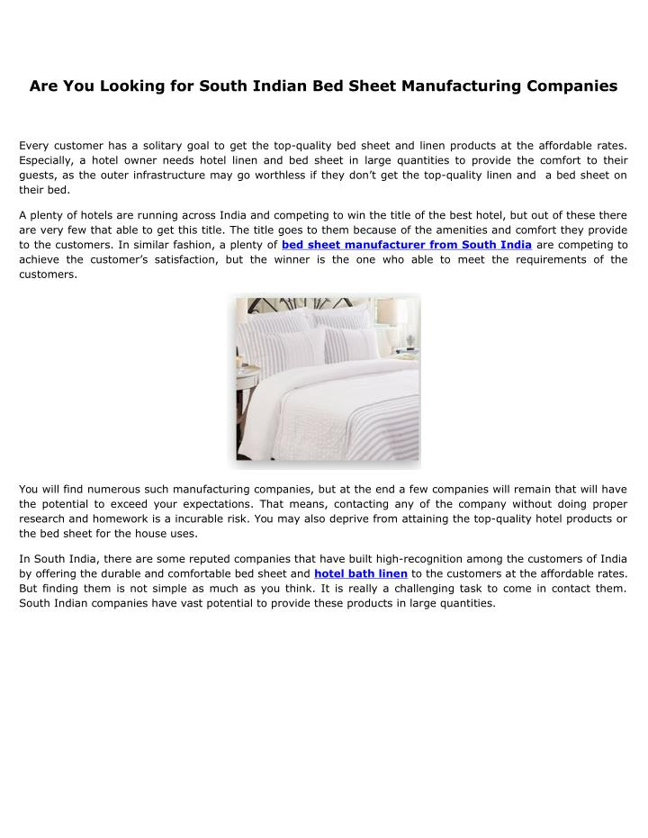 Are You Looking for South Indian Bed Sheet Manufacturing Companies