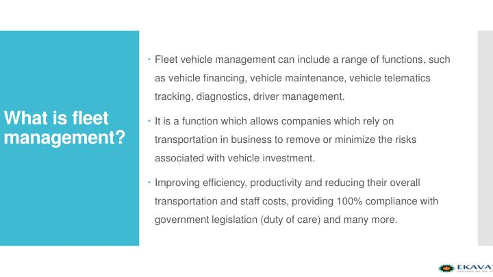 Fleet vehicle management can include a range of functions, such as vehicle financing, vehicle maintenance, vehicletelematics tracking, diagnostics, driver management.