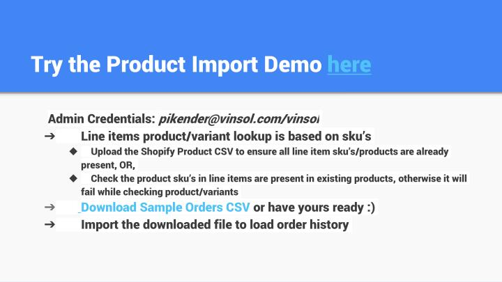 Try the Product Import Demo