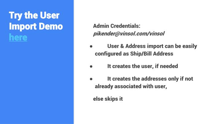 Try the User Import Demo